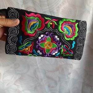Boho Embroidered Clutch